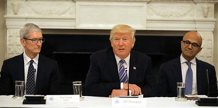 President Trump meets the CEOs of tech titans such as Apple, Microsoft, Google, and Amazon.
