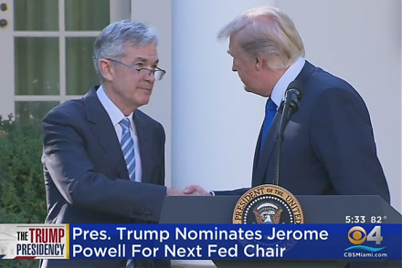 President Trump nominates Jerome Powell to be the new Federal Reserve chairman.