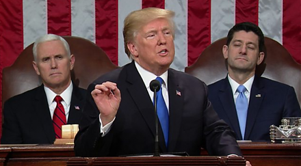 President Donald Trump delivers his first state-of-the-union address.