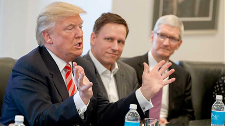 Peter Thiel shares his money views of President Trump, Facebook, Bitcoin, global finance, and trade.