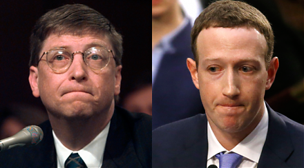 Bill Gates shares with Mark Zuckerberg his prior personal experiences of testifying before Congress.