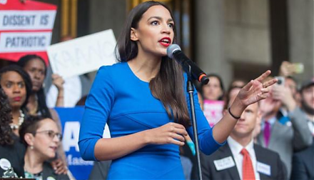 Congresswoman Alexandria Ocasio-Cortez proposes greater public debt finance with minimal tax increases for the Green New Deal.
