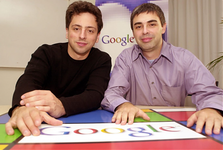 Stanford computer science overlords Larry Page and Sergey Brin design Google as an Internet search company.