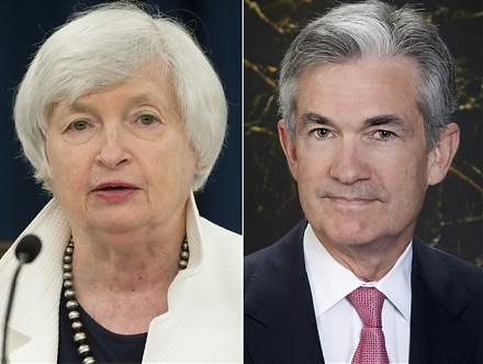 Fed Chair Janet Yellen confirms with her successor Jerome Powell the final interest rate hike in December 2017.