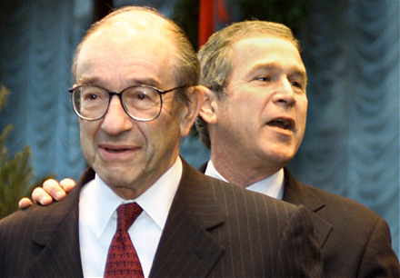 Former Fed Chair Alan Greenspan discerns asset bubbles in the American stock and bond markets in early-2018.