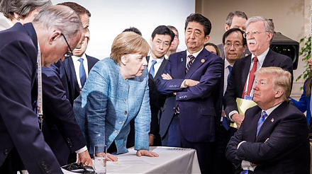 The finance ministers of Britain, Canada, France, Germany, Italy, and Japan team up against U.S. President Trump at the G7 forum.