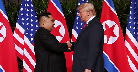 Donald Trump and Kim Jong Un meet, talk, and shake hands in the historic U.S.-North-Korean peace summit in Singapore.