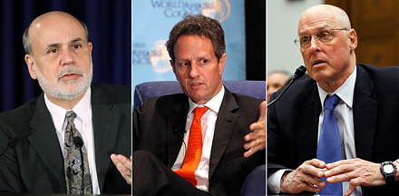 Paulson, Geithner, and Bernanke warn that people seem to have forgotten the lessons of the global financial crisis from 2008 to 2009.