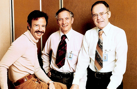 The Intel trinity of Robert Noyce, Gordon Moore, and Andy Grove establishes the primary semiconductor tech titan in Silicon Valley.