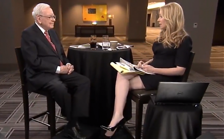 CNBC news anchor Becky Quick interviews Warren Buffett in light of the recent stock market gyrations and movements.